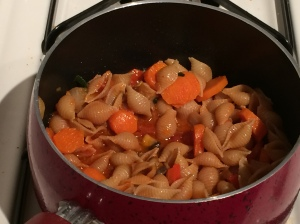 pasta sauce and veggies